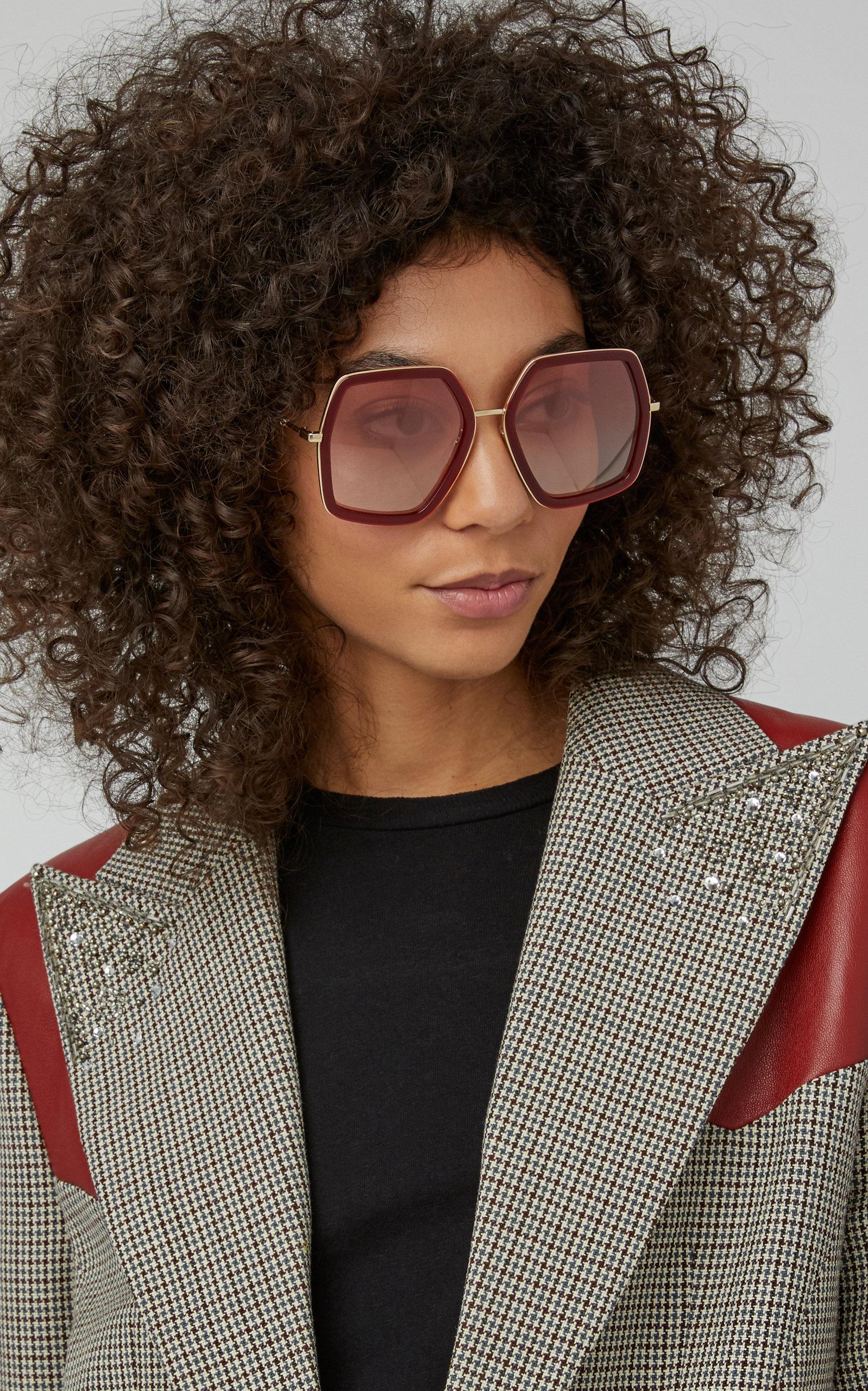 fc07854b1f672 Gucci Hexagon-Frame Metal Sunglasses In Red