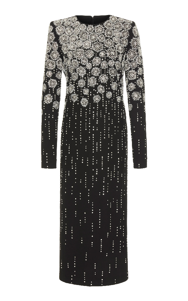 3ec6cf45a06 GIVENCHY. Long-Sleeve Jewel-Neck Crystal-Embroidered Ankle-Length Cocktail  Dress ...