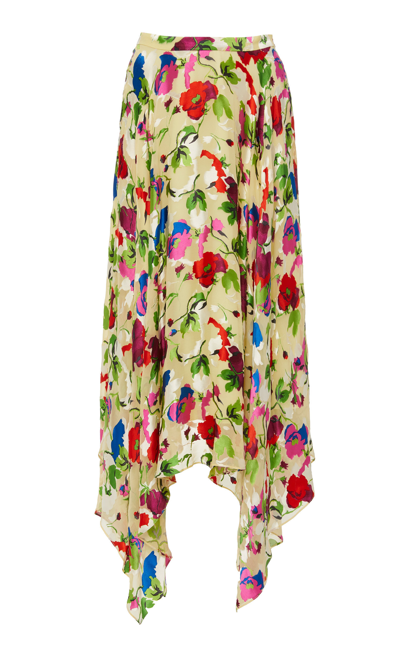 952fc3178d82 Saloni Freja Floral-Print Silk Midi Skirt | ModeSens