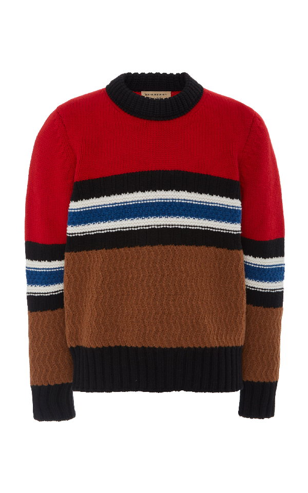 71def0cf Burberry Striped Textured Wool-Blend Sweater In Red | ModeSens