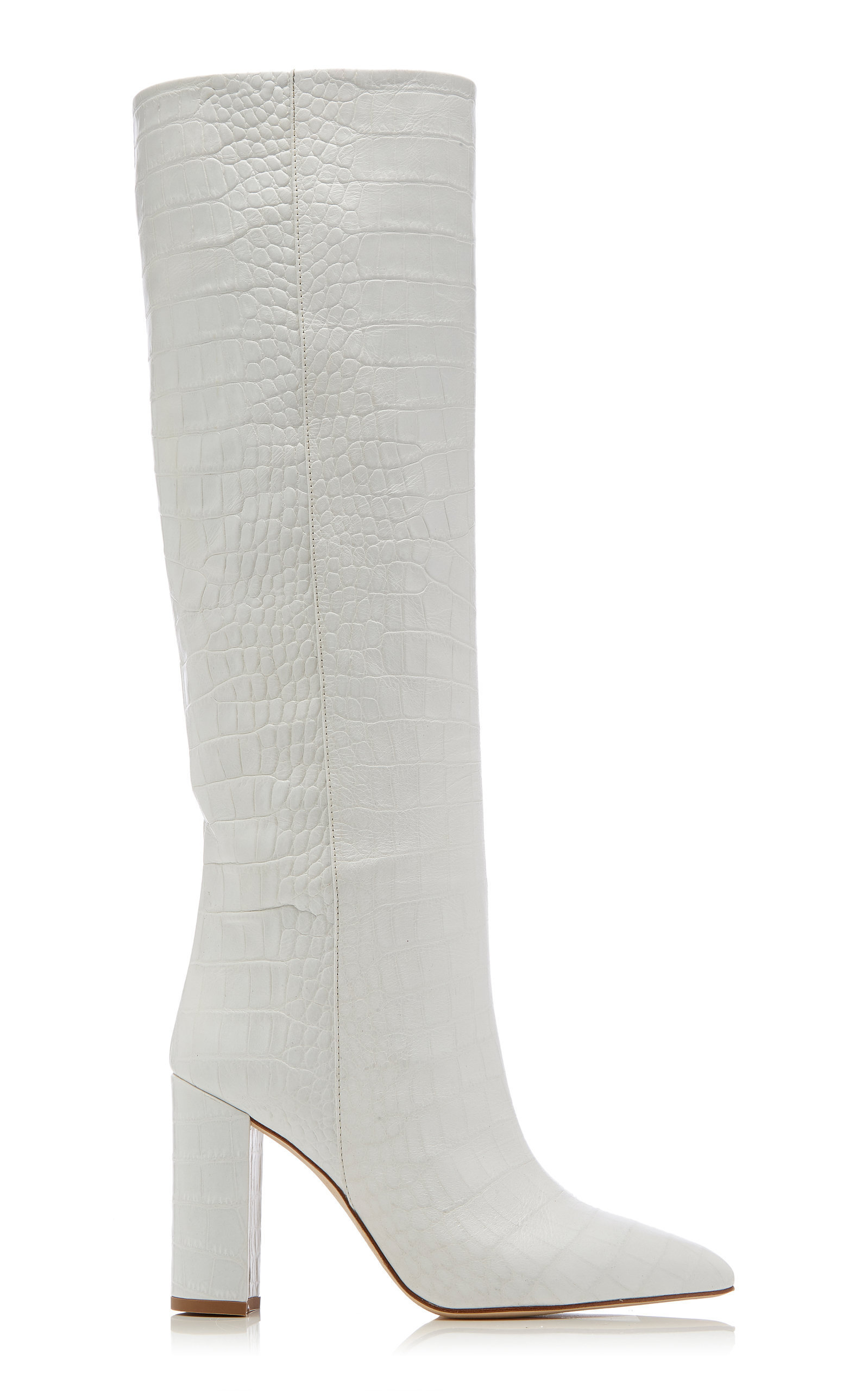 9218f0656 Paris Texas Croc-Embossed Leather Knee Boots In White