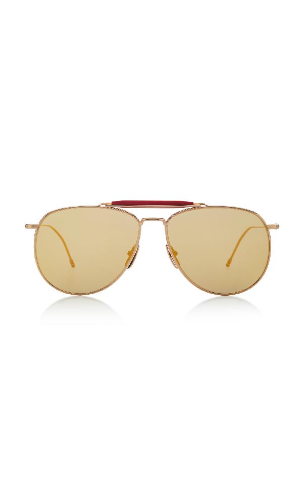 f277fe55602c0 Thom Browne Oversized Gold-Tone Aviator Sunglasses