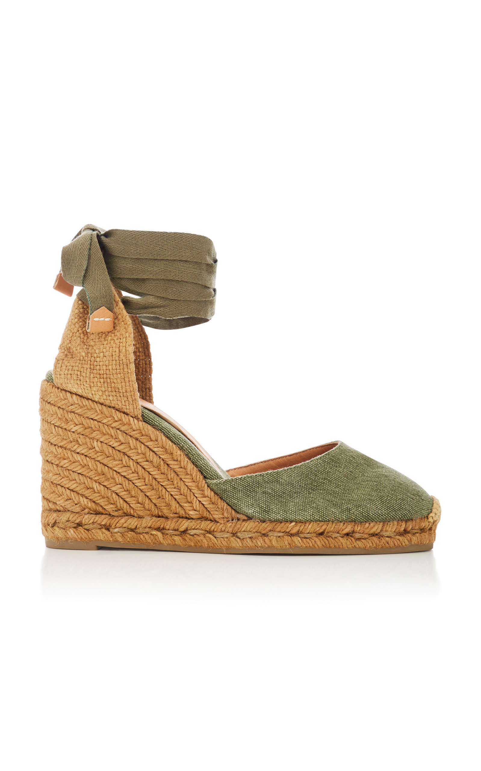 0e9ba9cf4964 CastaÑEr Carina Tie Canvas Espadrille Wedge Sandals In Green