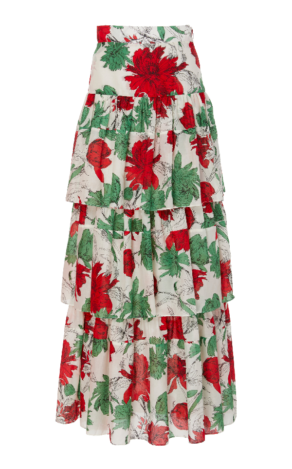 5a18513db35d96 Alexis Delora Tiered High-Waist Floral-Print Cotton-Voile Maxi Skirt In  Garden