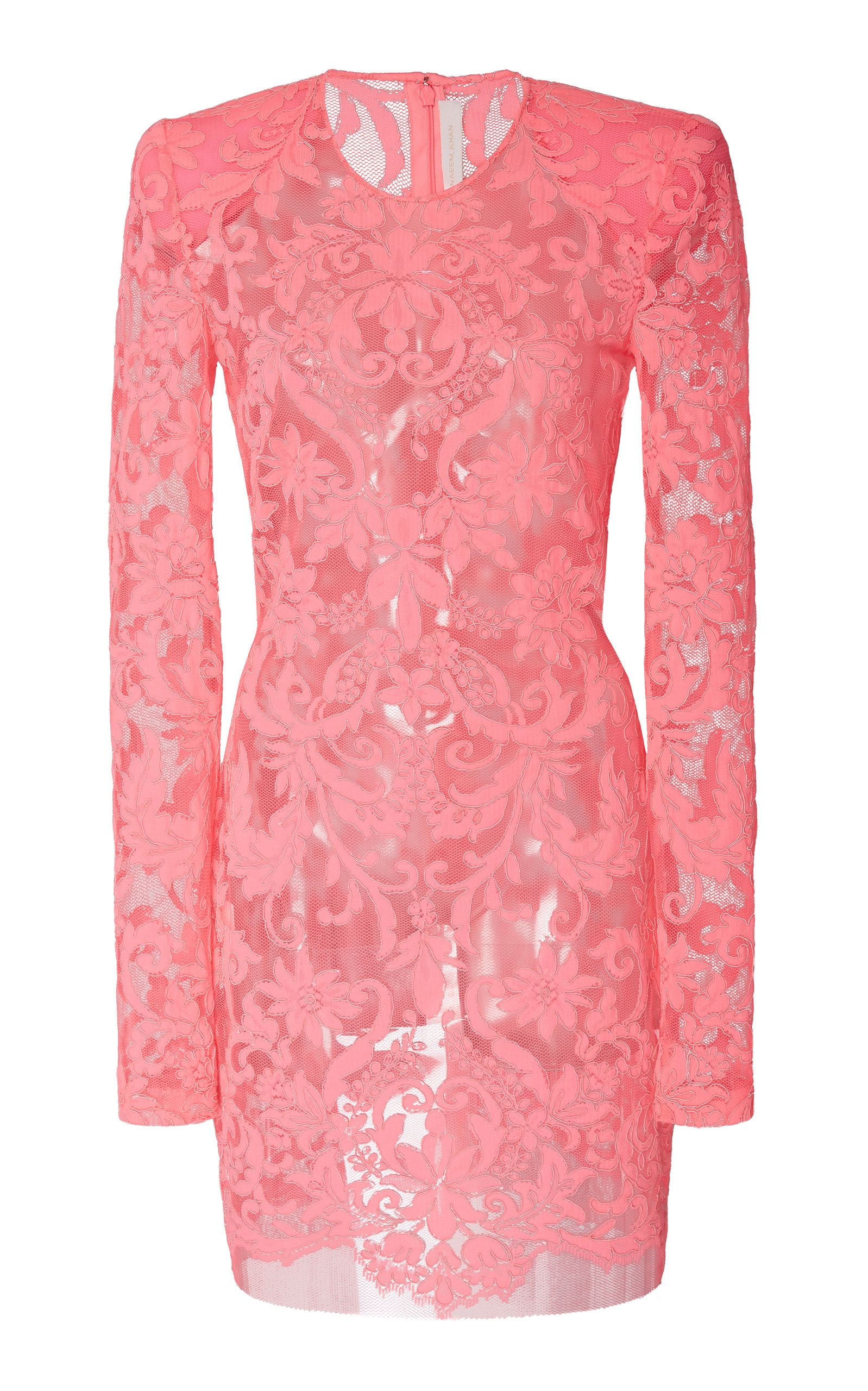 9e18dc5769a Naeem Khan Fitted Lace Mini Dress In Pink