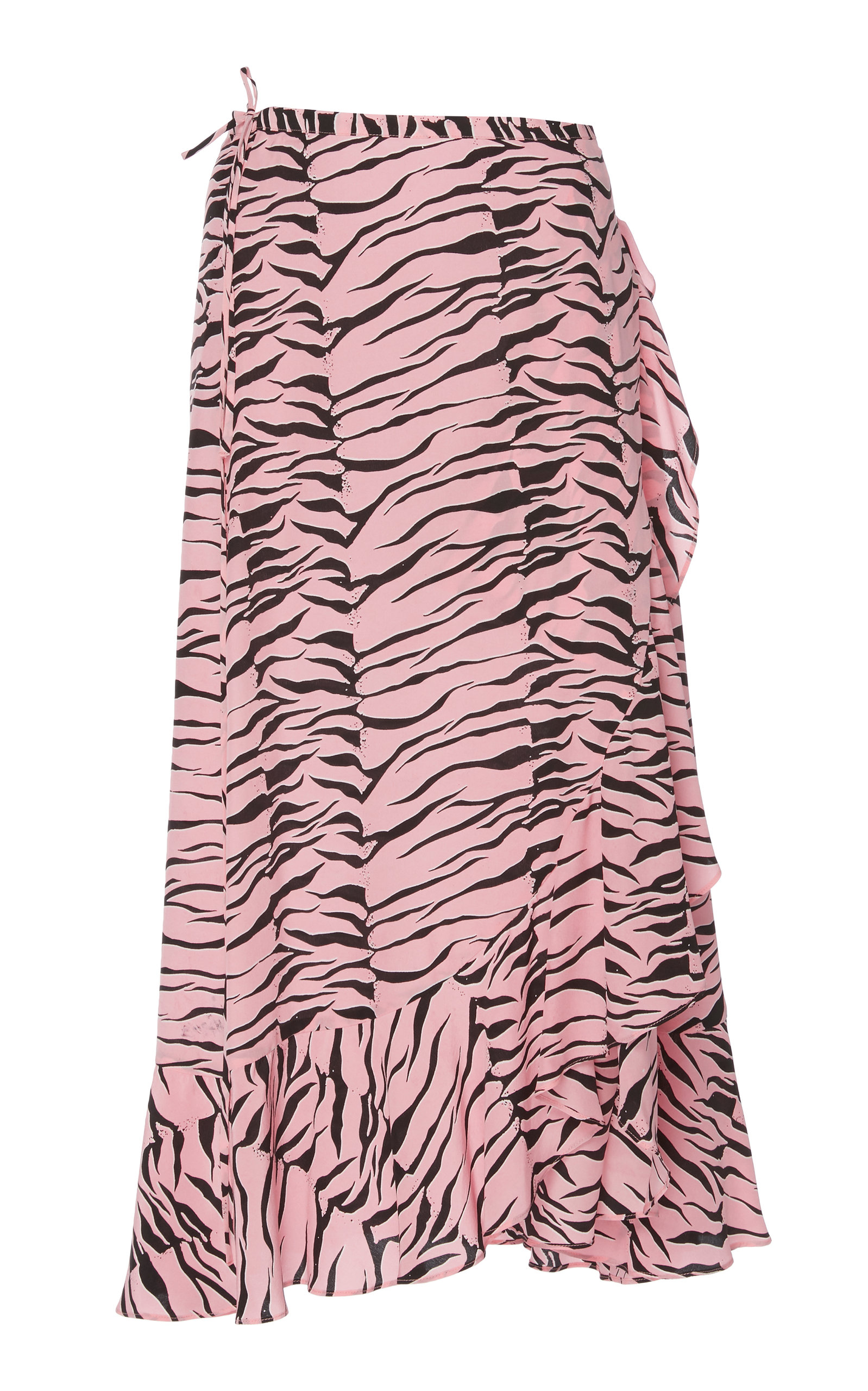 b3f04307ce Rixo London Gracie Ruffled Printed Silk Crepe De Chine Wrap Skirt In Pink
