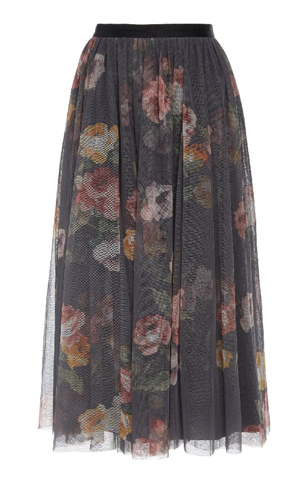 47ad3fcd9 Needle & Thread Venetian Rose Floral-Print Tulle Skirt In Black ...