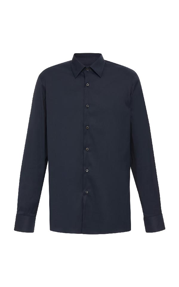 4b2c020e Stretch Cotton Blend-Poplin Shirt in Blue