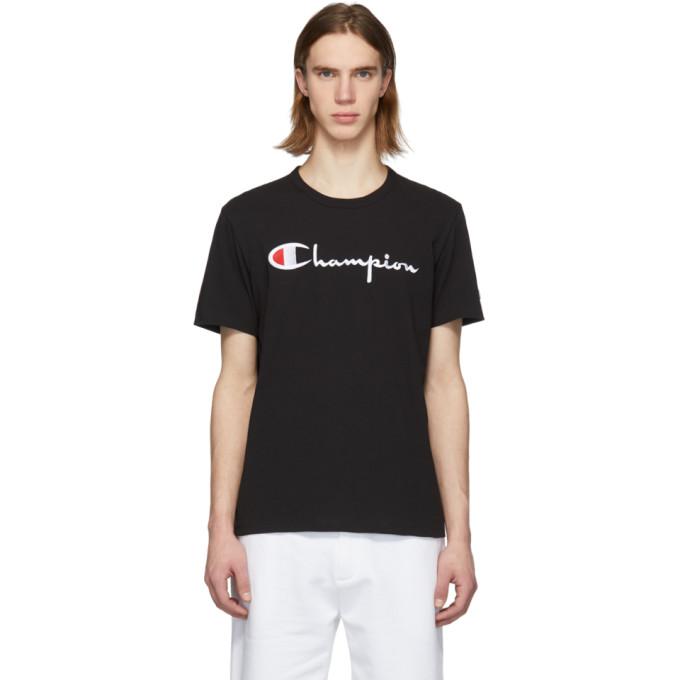 f04c3e31 Champion Reverse Weave Black Script Logo T-Shirt | ModeSens