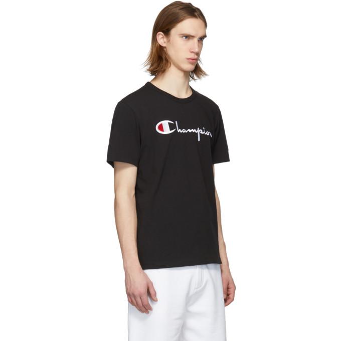 58bc2073f Champion Reverse Weave Black Script Logo T-Shirt In Nbk | ModeSens