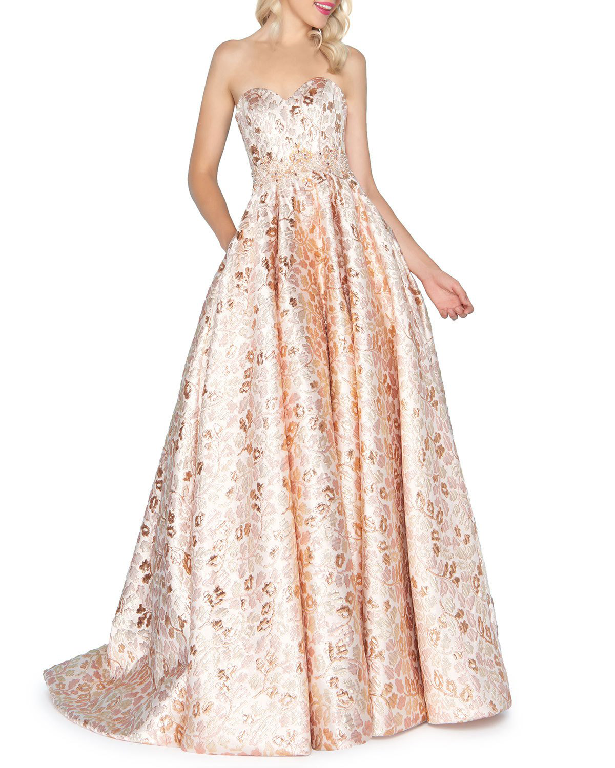 eb74fc49e51 Mac Duggal Strapless Floral Brocade Gown With Pockets In Rose Gold ...