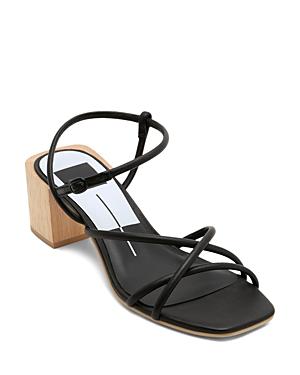 Womens Zayla Wooden Block Heel Sandals In Black Leather