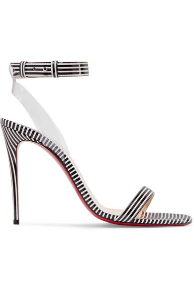 sale retailer 1731c f1b7d Jonatina 100 Pvc-Trimmed Striped Patent-Leather Sandals in Black
