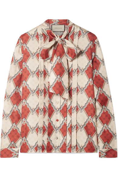 e61efca03c0 Gucci Pussy-Bow Pintucked Printed Silk-Twill Blouse In 6547 Red ...