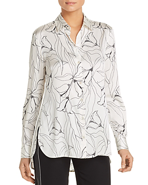 9217e4171 St. John Floral-Print Button-Down High-Low Silk Charmeuse Blouse In ...