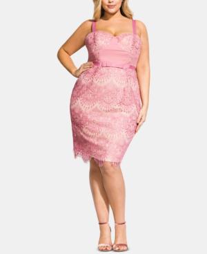 36e9e1044736 City Chic Trendy Plus Size Jolie Lace Dress In Musk