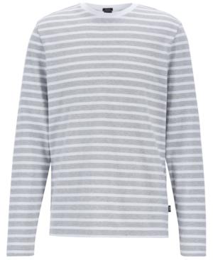 72fa96c7f Hugo Boss Boss Men's Striped Long-Sleeve Cotton T-Shirt In Open Grey ...