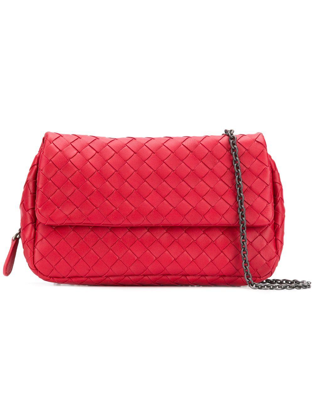 7de82352a9 Bottega Veneta Intrecciato Crossbody Bag - Red
