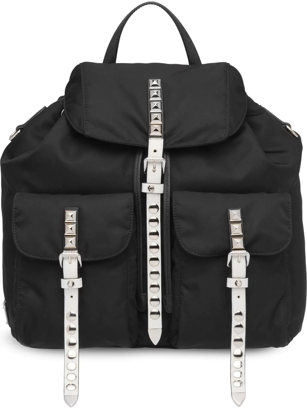 b165f276a15e20 Prada Nylon Backpack W/ Studded Straps In F0967 Black/White | ModeSens
