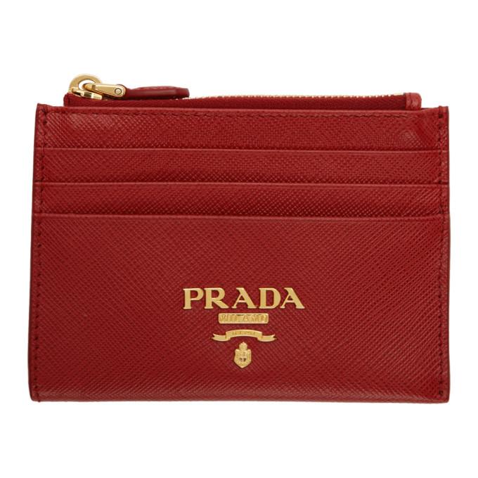 bc7da453 Prada Red Saffiano Zip Card Holder in F068Z Red