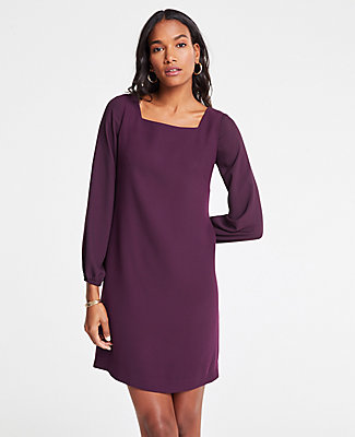 1a0bc51d482 Ann Taylor Petite Sheer Sleeve Shift Dress In Winter Violet