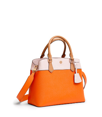 d347b9c0d881 Tory Burch Robinson Color-Block Triple-Compartment Tote In Orange Juice   Shell Pink