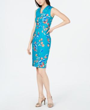 cf8bd235 Calvin Klein Floral-Print Sheath Dress In Lagoon Multi | ModeSens
