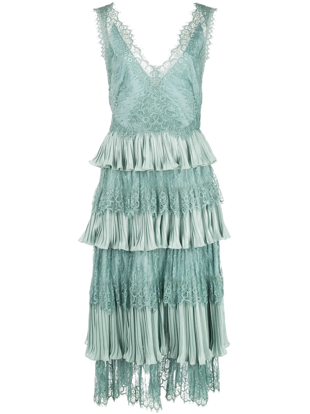 228acb30 Marchesa Notte Lace Tiered Midi Dress - Green In Teal | ModeSens