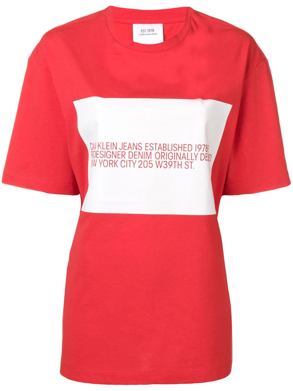 ca4e7bbd787f Calvin Klein Jeans Est. 1978 Logo Print T-Shirt - Red In 600 Red ...