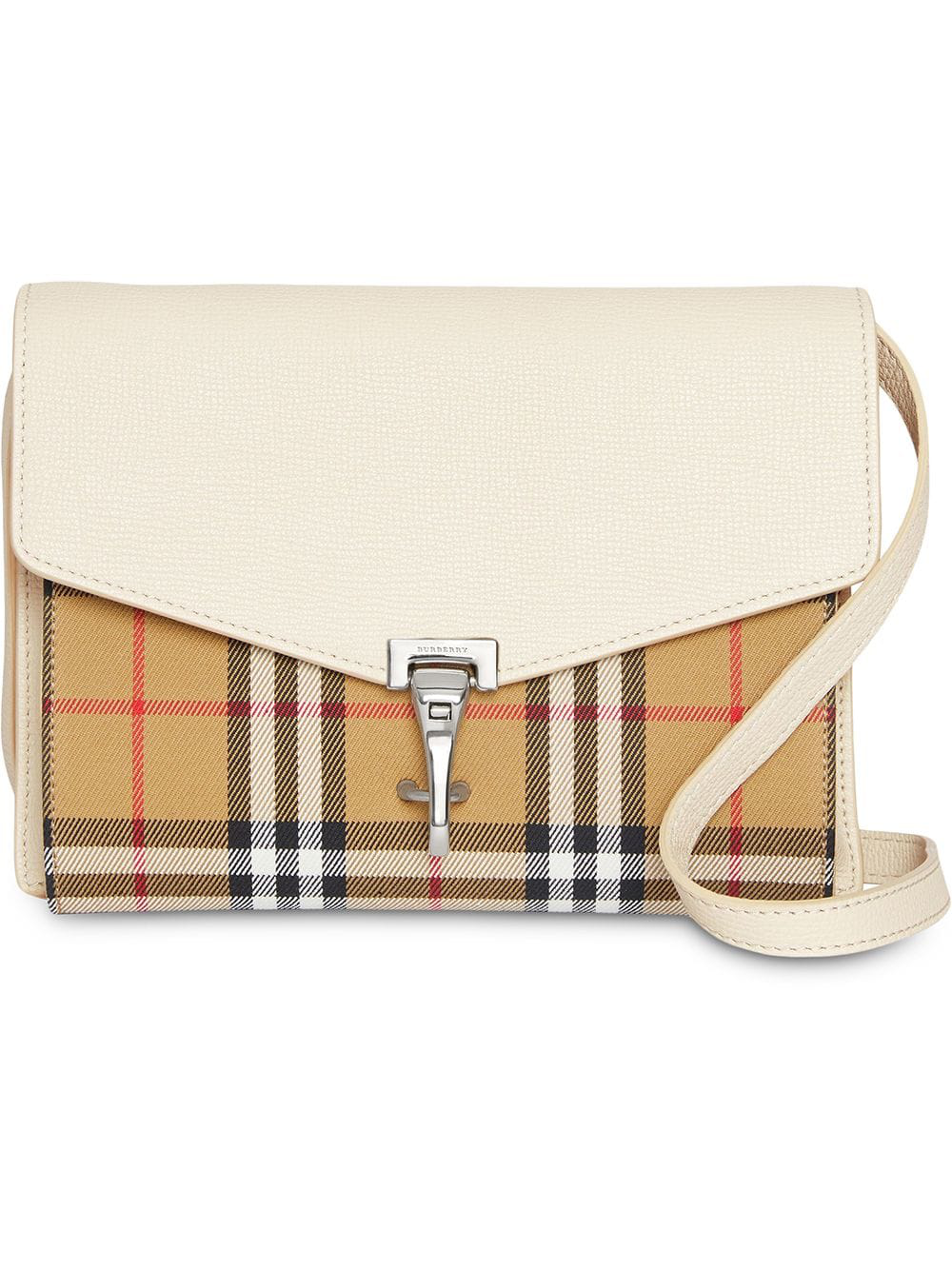 9acd0d08bafe Burberry Small Vintage Check And Leather Crossbody Bag - White ...