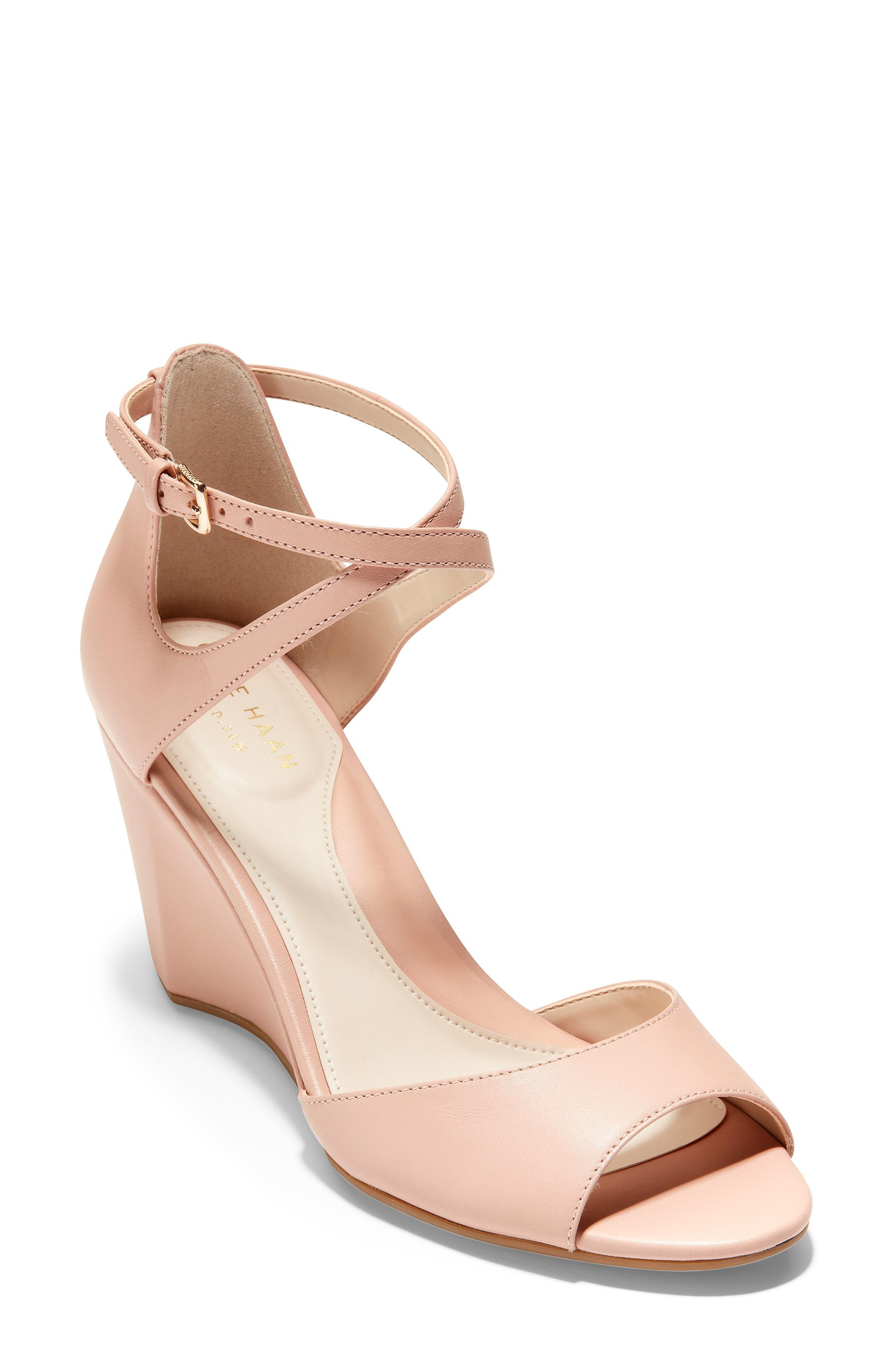 27bb255cb227 Cole Haan Sadie Open Toe Wedge Sandal In Mahogany Rose Leather ...
