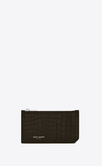 8c8abf186e5c Saint Laurent Fragments Zippered Card Case In Shiny Crocodile-Embossed  Leather In Dark Tea