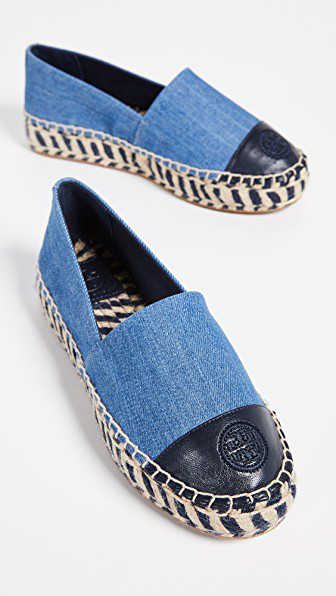 0bd6e8f9630 Tory Burch Colorblock Platform Espadrilles In Denim Chambray Perfect Navy