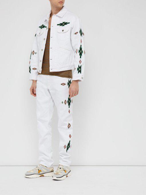 3ea9eb5da4988 Isabel Marant - Jango Embroidered Denim Jacket - Mens - White