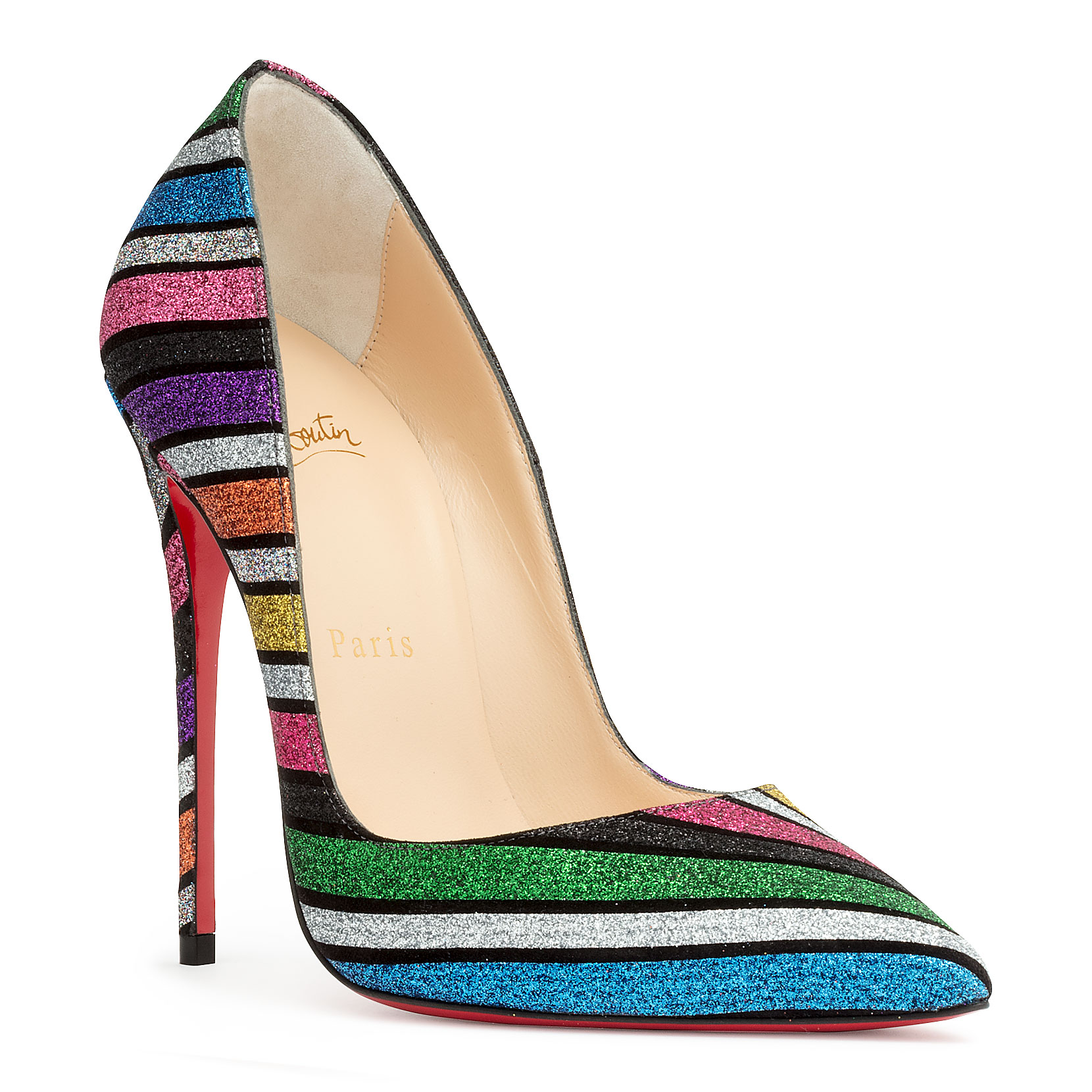54f899810043 Christian Louboutin So Kate 120 Stripey Glitter Suede Red Sole Pumps In  Multi