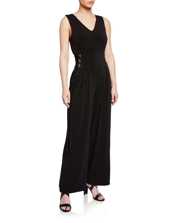 cb78d30c71d Michael Michael Kors Sleeveless Lace-Up-Waist Wide-Leg Jumpsuit In Black