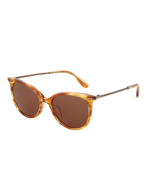 e4d7bca3a Bottega Veneta Round Acetate/Metal Sunglasses In Brown | ModeSens
