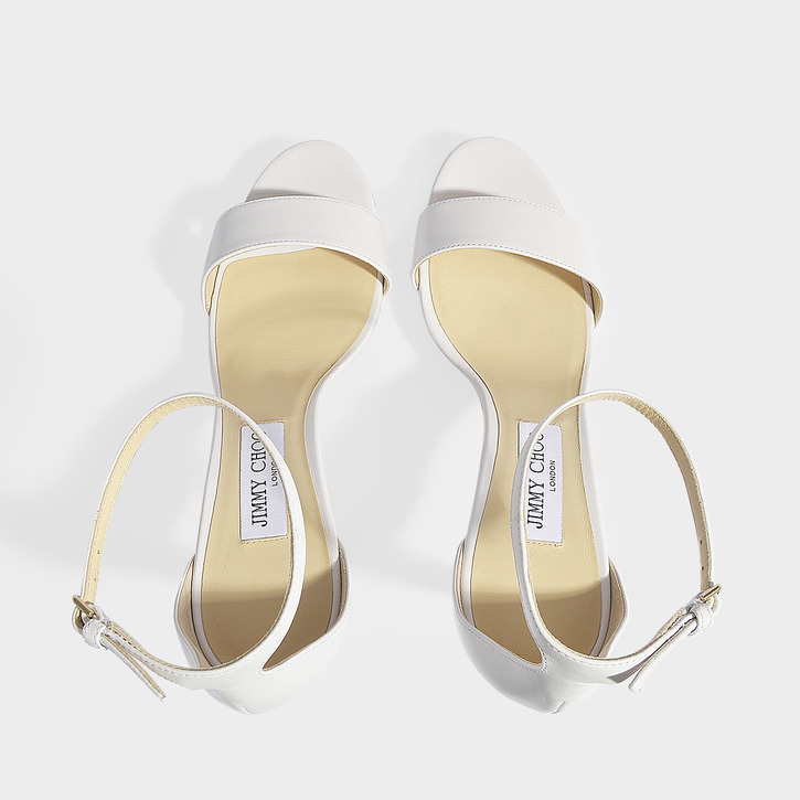 Misty 100 Leather Platform Sandals in White