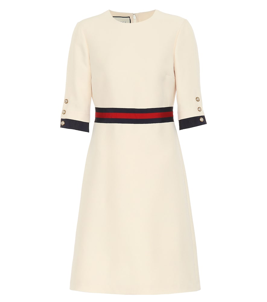 aee22f69e Gucci Grosgrain-Trimmed Wool And Silk-Blend Cady Mini Dress In Neutrals