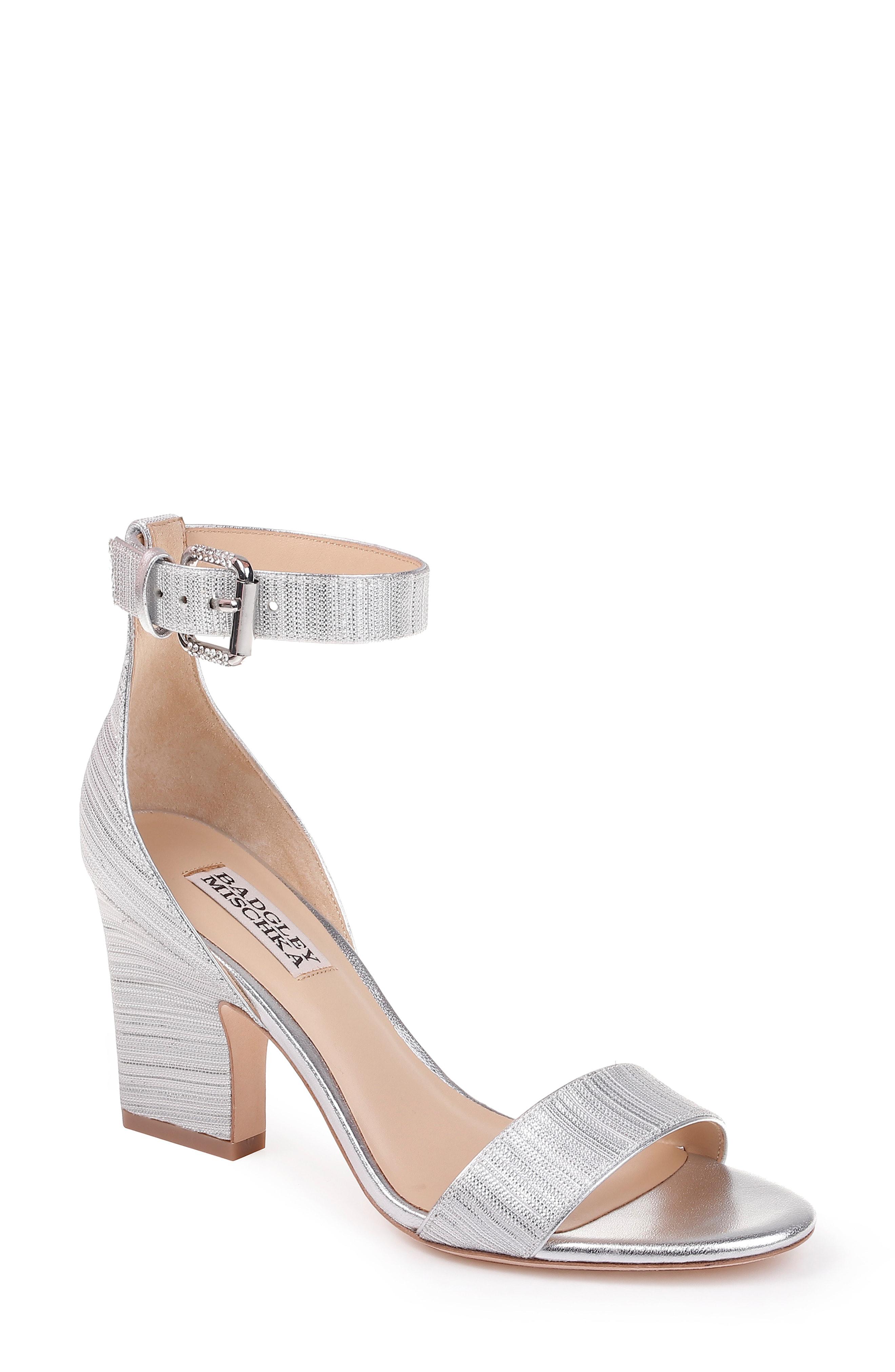 474061b572b Badgley Mischka Loreen Block Heel Sandal In Silver Glitter Fabric ...