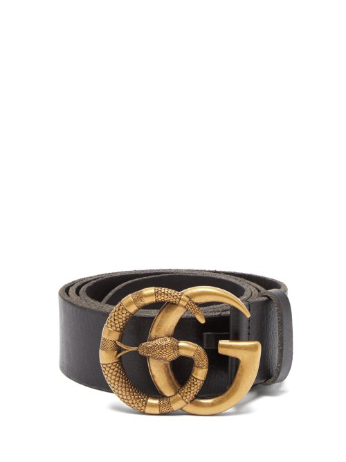 6153c0515a8 Gucci Leather Belt With Double G Buckle With Snake In Black
