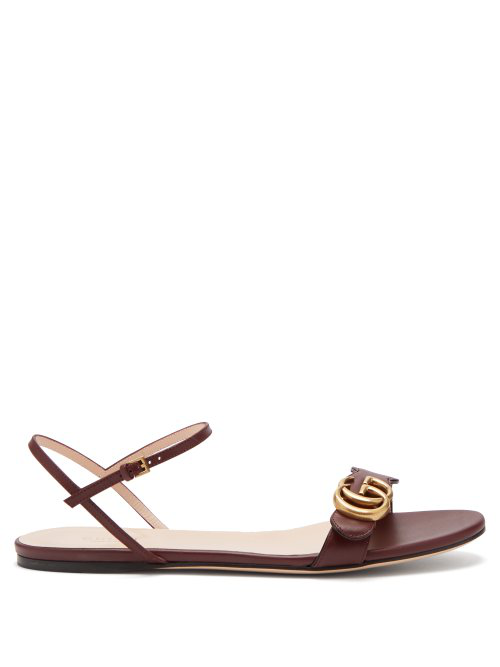 Gucci Marmont Gg Leather Sandals In Wine