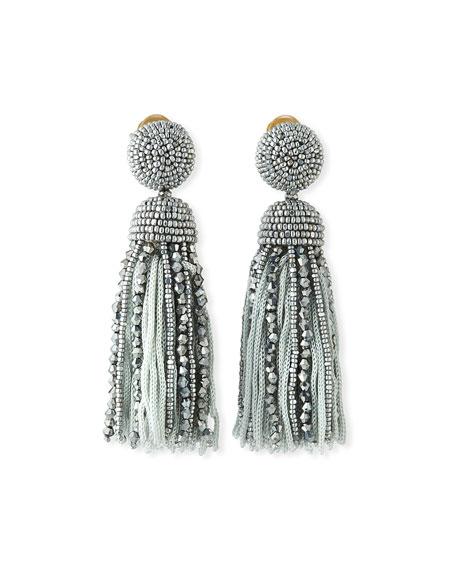 fbf5cf675 Oscar De La Renta Short Bead & Silk Tassel Clip-On Earrings In Lavender