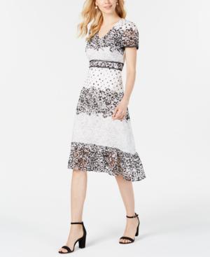 Lace Printed A Line Midi Dress In Whiteblack