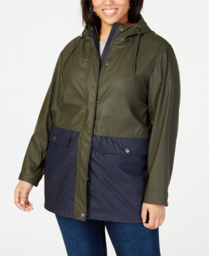 5581281afd7 Levi s Plus Size Colorblocked Rain Jacket In Olive Navy