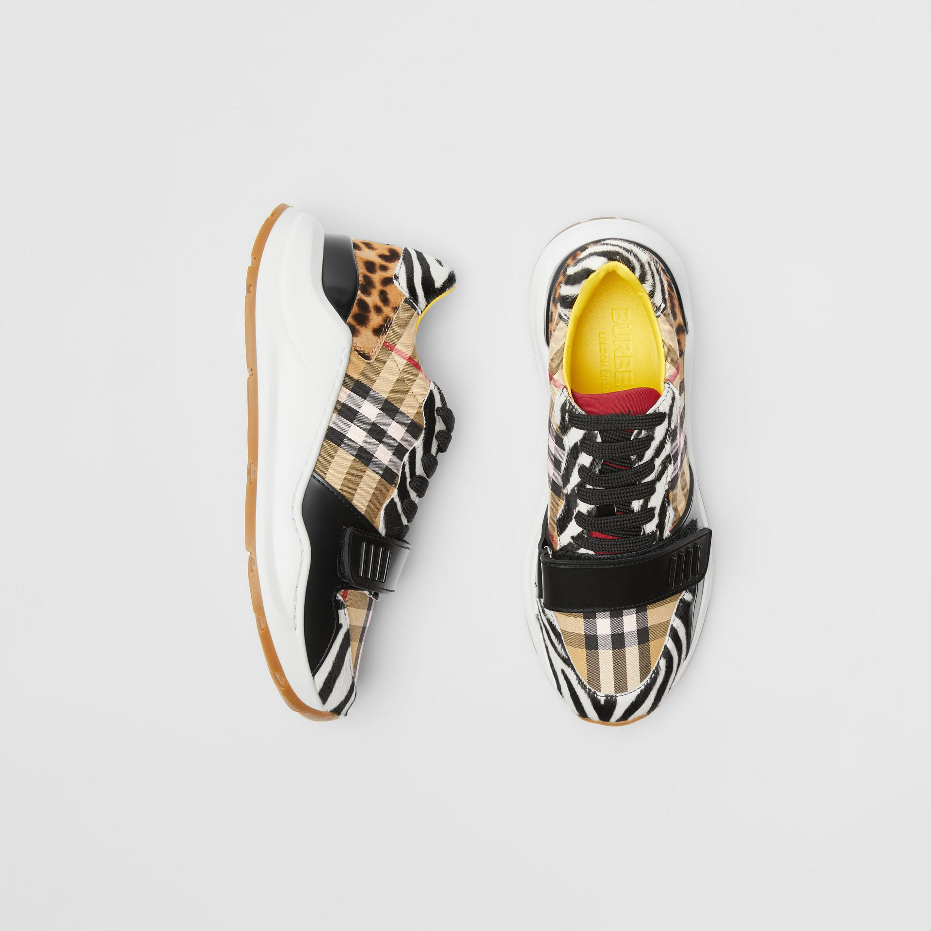 Burberry Animal Print And Vintage Check Sneakers In Antique Yellow
