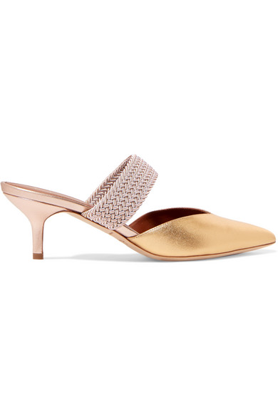 87c488eb0 Malone Souliers Maisie 45 Cord-Trimmed Metallic Leather Mules In Gold