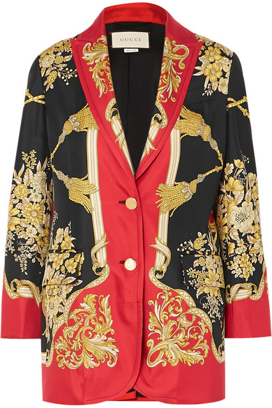 a232201a835925 Gucci Intrigue Place Floral And Tassel Jacquard Twill Blazer In Red ...