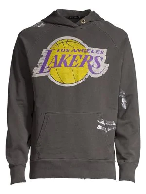 47 Dye House Lakers Distressed Pullover Hoodie In Grey Modesens