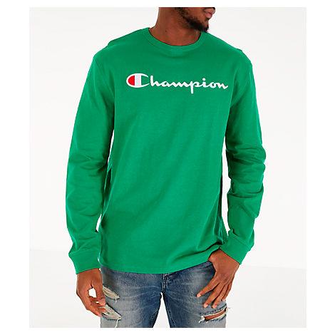 6fa3859e Champion Men's Heritage Logo Long Sleeve T-Shirt, Green | ModeSens